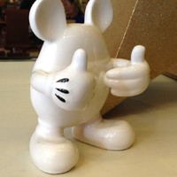 Walt Disney World Park Exclusive Mickey Mouse Figural White Ceramic Bathroom Toothbrush Holder