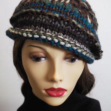 Soft Handmade Knit Hat  /  Cloche Hat / Teal /  Brown /  Roll Brim Hat /  Crochet Hat / Chunky Knit / Woman Hat / Wool Blend / Fall Find