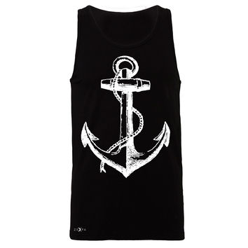Zexpa Apparel™ Anchor White Men's Jersey Tank Nautical Anchor Marine Fashion Sleeveless