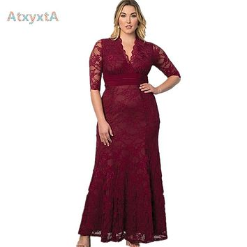 Women Big Large Plus Size  Elegant Sexy Evening Maxi Long Little Black Red Party Lace Dresses  5xl 6xl 7xl 8 XL Clothing Gown