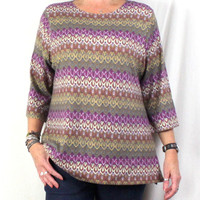 Sharagano Top 1x size Colorful  Knit Womens Zig Zag Sweater Shirt Tunic