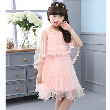New Girl Dresses 2017 Summer Kids Fashion Dress Shawls Lace Clothes Floral Design Formal Dress For 3-12 years old Girls Clothing
