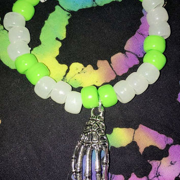 Rave Kandi Bracelet- ZOMBOY- Glows In Blacklight-Rave wear-Plur