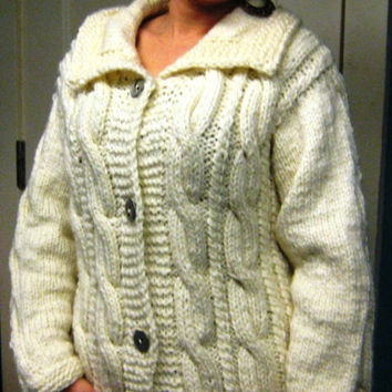 Ladies  Aran Cardigan Cozy cuddling super soft wool/acrylic mix cable cardigan perfect gift for a special one