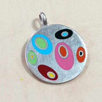 Vintage Mexico 925 Colorful Enamel Necklace Pendant Sterling Silver Round with Egg Shaped Swirls of Various Colors Fun Whimsical ReadytoWear