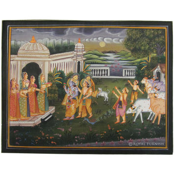 Lord Ram Lakshman Rajasthani folk Miniature Painting On Silk