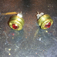 Ruby Red stud earrings  handcrafted  handmade birthstone ammo brass primer cap jewelry with silver chain ****Free Shipping****