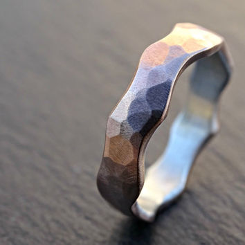 wave ring bronze silver, beach wedding band silver, two tone ring, alternative wedding ring, hammered ring forged, mens ring mixed metal