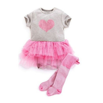 Baby Girls Toddler Puffy Tutu Dress Gauze Love Print Short Sleeve Dress Outfits Infant Clothing forSM6