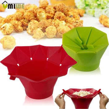 High Quality DIY Silicone Microwave Popcorn Maker Bucket Popcorn Bowl Popper Maker Container Healthy Snack Home New Baking Tools