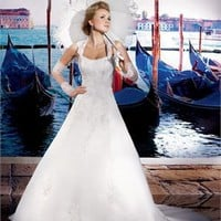 A-line strapless with jacket sweep train tulle 2013 lace Beach Wedding Dresses WDB043