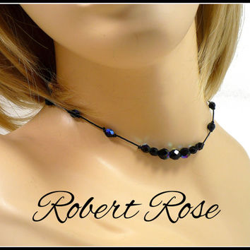 1980s Black Aurora Borealis Crystal Choker, Designer Robert Rose, Black AB Crystal Necklace, Black AB Choker, Hippie Boho Style