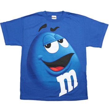 M&M's Candy Character Face T-Shirt - Adult - Blue - Large