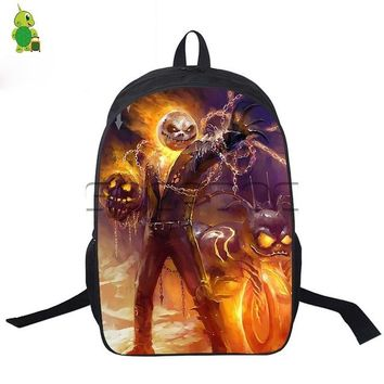 Student Backpack Children Ghost Rider/Capatain Jack crossovers backpack students school bags The Nightmare Before Christmas printed laptop travel backpack AT_49_3