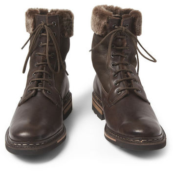 Heschung Zermatt Shearling-Lined Leather Boots | MR PORTER