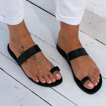 Women's Beach Open Toe Flat Sandals Black