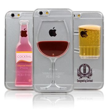 High Sales ! Luxury Red Wine Cup and Beer Bottle Liquid Transparent Case Cover For Apple iPhone 6 6S 7 7plus Case