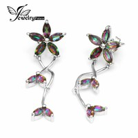 Brand New Solid 925 Sterling Silver 3.5ct Trendy Genuine Natural Fire Rainbow Mystic Topaz Drop Luxury Earrings Top Quality Set