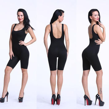 Rompers Solid Cotton Bodycon Strapless Jumpsuit Backless Dungarees