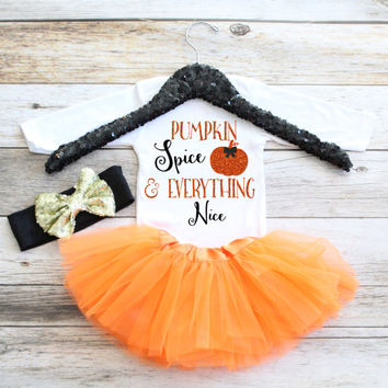 Pumpkin Spice and Everything Nice Newborn Coming Home Outfit, Hospital Outfit, Newborn Baby Gift, Baby shower gift,Tutu set,Baby Girl Tutu