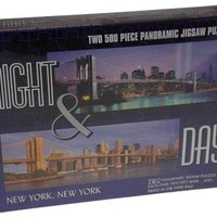 2in1 Puzzles Night Day City New York City 500 Pc Panoramic Jigsaw Puzzles 2' NYC