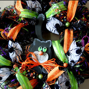 Halloween Deco Mesh Wreath with Hand by KraftyKreations4You