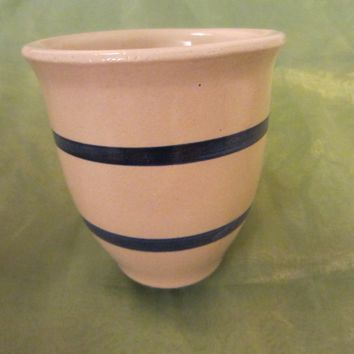 Roseville Ohio Pottery Kitchen Crock Blue Stripes White Jar