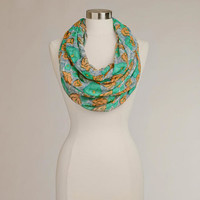 Teal and Orange Floral Infinity Scarf