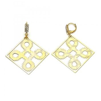 Gold Layered 069.003 Dangle Earring, Filigree Design, with White Cubic Zirconia, Diamond Cutting Finish, Gold Tone