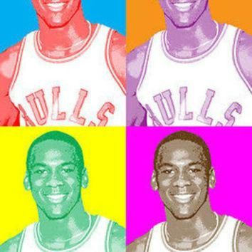 CREYUG7 MICHAEL JORDAN celebrity ATHLETE multiple image POP ART POSTER retro feel