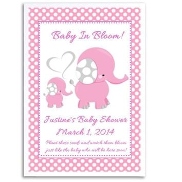 8 Pink Polka Dot Elephant Baby Shower Seed Favors