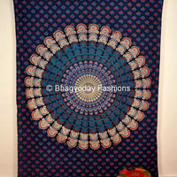 Blue Mandala Tapestry , Indian Hippie Wall Hanging Bohemian Twin Wall Hanging, Bedspread Beach Coverlet throw Decor Art