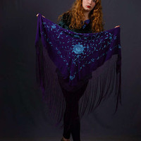 Gypsy fringed silk piano shawl / muted purple background with turquoise blue hand embroidered Spanish manton / bridal wedding triangle stole