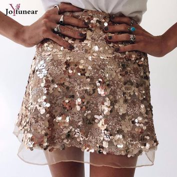 Women mesh patchwork Skirt Sexy High Waist Party Glitter Mini Skirt Bodycon Sequin Skirt   back zipper Women Ladies beach Skirts