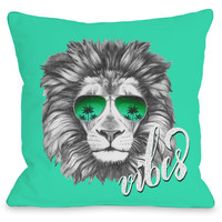 """Lion Vibes"" Indoor Throw Pillow by OneBellaCasa, 16""x16"""