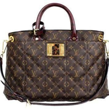 Tagre™ ONETOW Louis Vuitton Monogram Canvas Burgundy Python Ostrich Exotic Mm Tote Bag