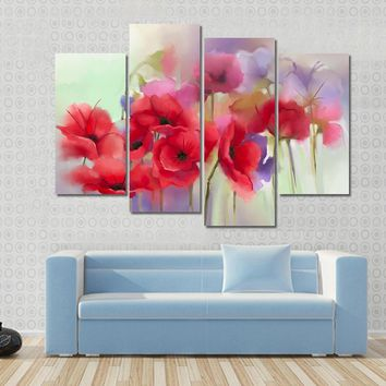 Watercolor Red Poppy Flowers Painting Abstract Canvas