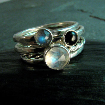 Rainbow Moonstone Stacking Ring Set or Single with Labradorite and Black Onyx in Hammered Sterling Silver - Made to Order in Your Size