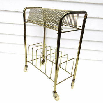 Mid Century Record Holder, Rolling Rack, 2 Tier Metal Record Rack,  Brass Stand, LP and 45 Record Storage