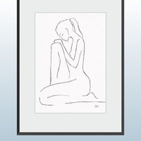 Original line art graphics. Black ink drawing of a nude female figure. Girl sitting.