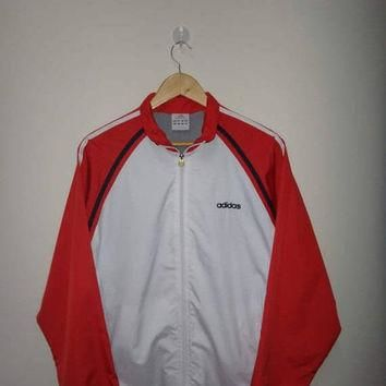 15% OFF Sale Rare ADIDAS Windbreaker Jacket White And Red Sleeve Adidas Tracksuit Long