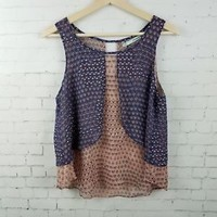 Maurices Womens Top Size M Navy Blue Printed Sleeveless Blouse Lightweight Boho