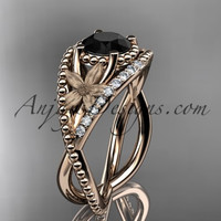 14kt rose gold diamond floral wedding ring, engagement ring with Black Diamond center stone ADLR88