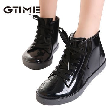 2015 Lace-Up Rain Boots Fashion Solid Ladies Flats Ankle Boots Casual Silver Women Boots Shoes Woman 4 Colors Size 35-40 #ZH3