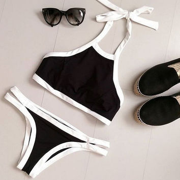 Black Crop Top Bikinis Set Push Up Women Swimsuit Push Up Women Swimwear