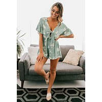 She's So Classic Floral Tie Romper (Sage)
