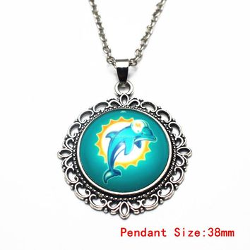 3pcs/lot Football Miami Dolphins Glass Pendant Necklace 20 Inch Chains Necklace For Women Sports Necklace DIY Jewelry