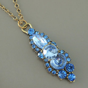 Vintage Necklace - Rhinestone Necklace - Sapphire Blue Necklace - One of a Kind - Vintage Brass jewelry - handmade jewelry