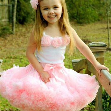 Baby Girls Dancewear Cute Chiffon Tutu Full Pettiskirt With Detachable Bow Princess Outfit