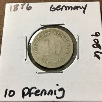 1876 German Empire 10 Pfennig Coin 9086